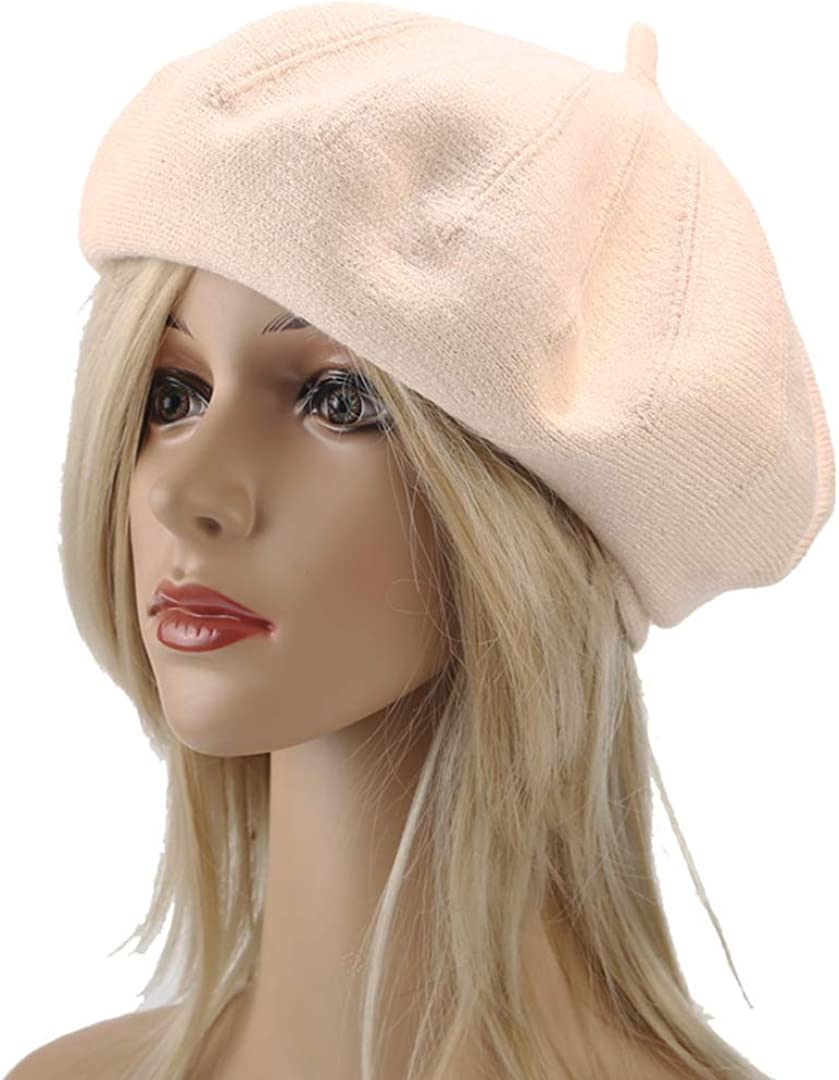 Joylife Solid Color Knitting Beret Hat Double Layer French Artist Hats Soft Winter Warm Reversible Caps