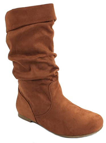 62bc90410c94 JJF Shoes Zerin2 Cognac Fashion Slouch Faux Suede Mid Calf Motorcycle  Boots-5.5