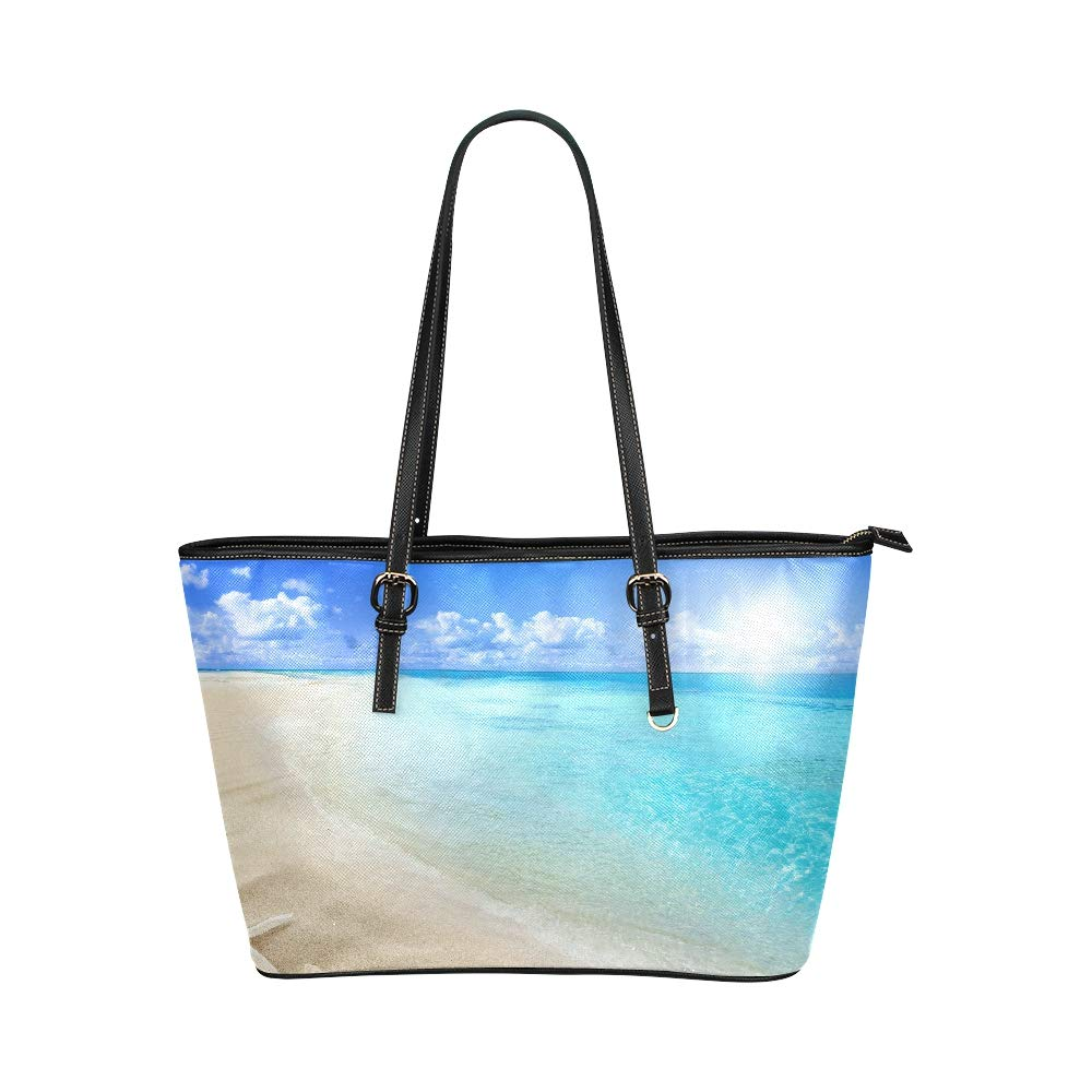 Sea Shell Pearl On Sun Beach Large Soft Leather Portable Top Handle Hand Totes Bags Causal Handbags With Zipper Shoulder Shopping Purse Luggage Organizer For Lady Girls Womens Work