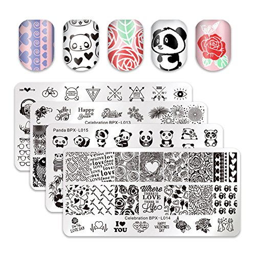 BORN PRETTY 4Pcs Nail Stamping Plate Valentine's Day Manicure Nail Art Image Template DIY Decoration with 2Pcs BORN PRETTY Scrapers for Gift