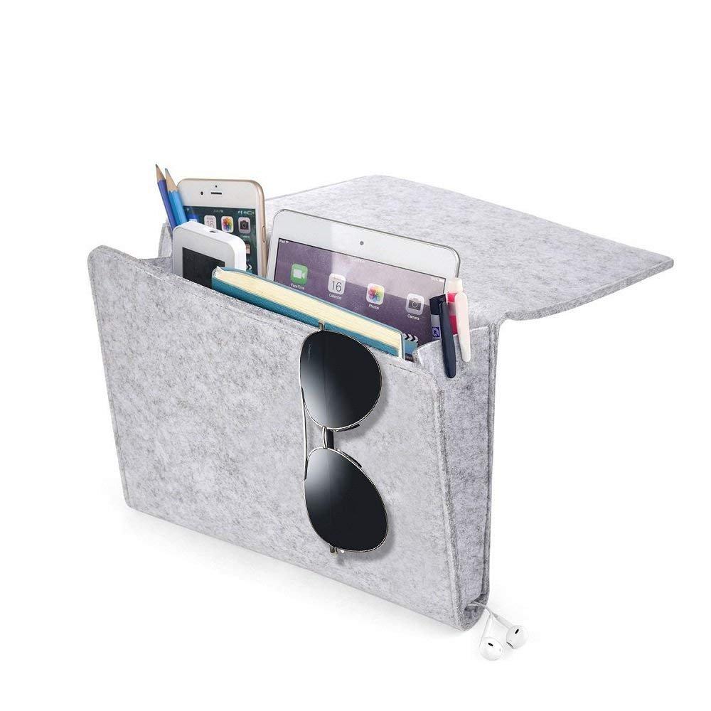 FJROnline Bedside Storage Pocket, Grey Felt Bedside Caddy Organizer Pocket with 2 Small Pockets for Phone, Remote, Magzine, Glasses, Pen