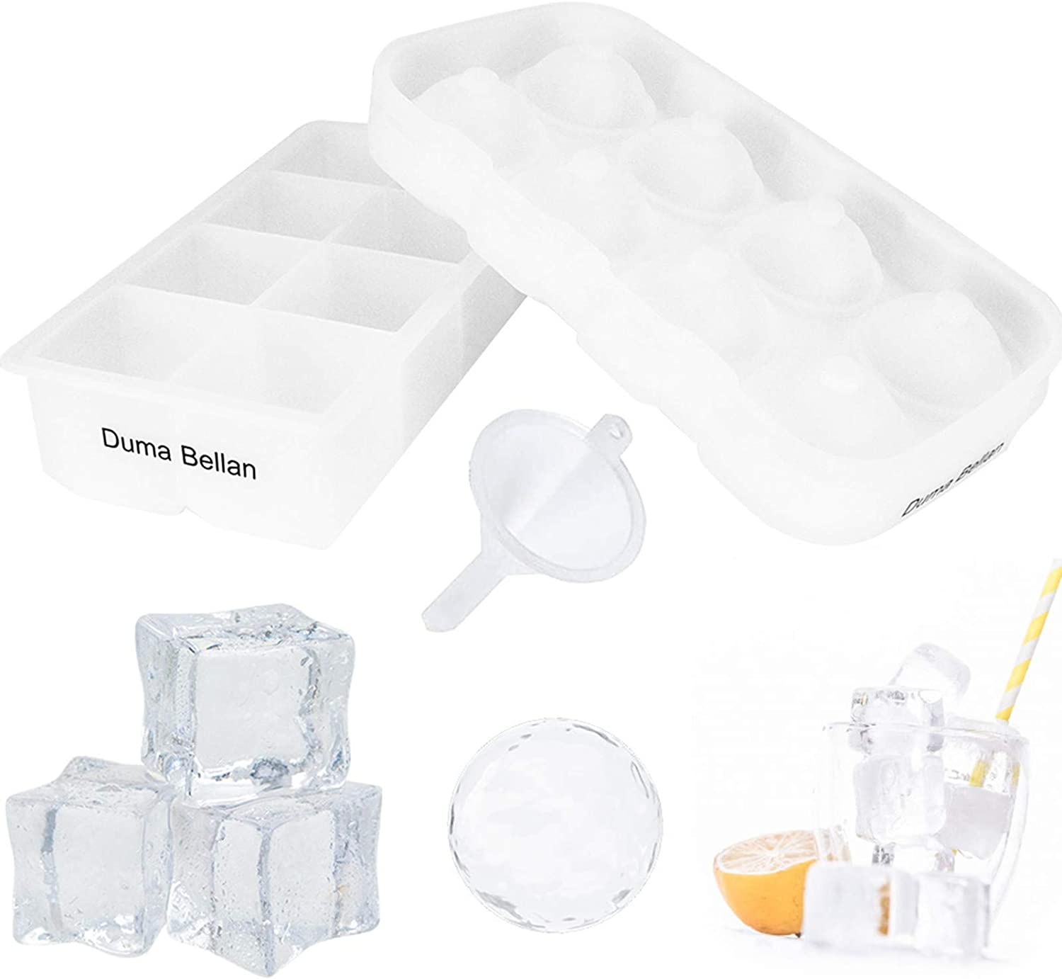 Ice Cube Tray Combination(8 Squares And 8 Balls), Large Food Grade Silicone Square Ice Cube Mold Spherical Ice Machine, Used For Cocktails And Bourbon Whiskey, Reusable And BPA Free(White)