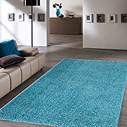 "Ottomanson Soft Cozy Color Solid Shag Area Rug Contemporary Living and Bedroom Soft Shag Area Rug, Turquoise Blue, 5'3"" L x 7'0"" W"