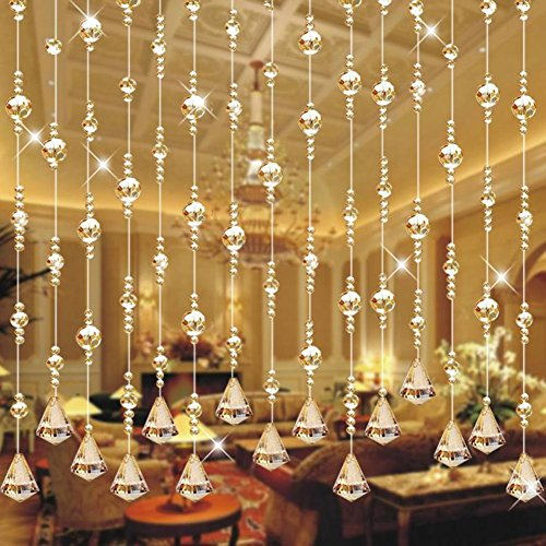 Champagne porch crystal bead curtain,Glitter string curtain panel Faux crystal beaded curtain-D