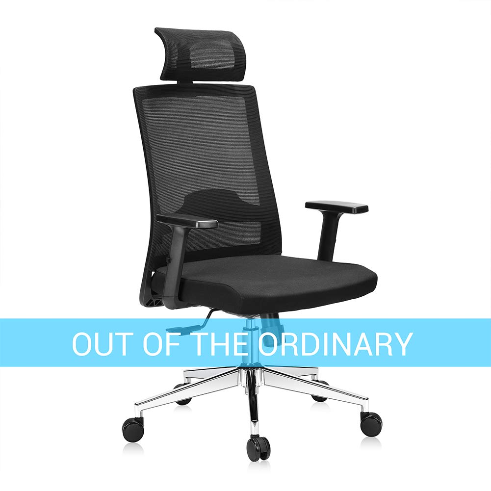3ec19909aa24 Ej. Life Ergonomic Office Chair High Back Mesh Desk Chair with Arm Rests  Height Adjustable and Head Support 3 Adjustable Tilt Tension - Black