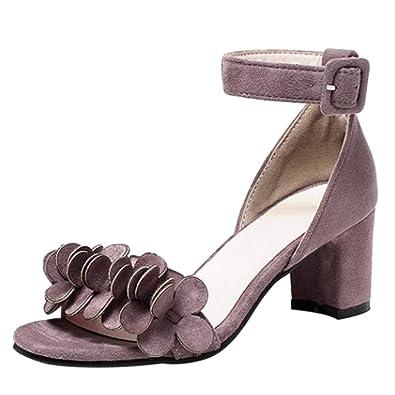TAOFFEN Damen Sommer Blockabsatz Sandalen