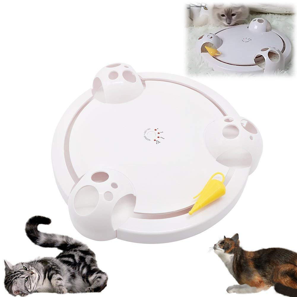 AUOON Pounce Cat Toys Interactive,Automatic Cat Scratch Mouse Game Disc Cat Toys Joy Disc Mouse Turntable Cat Scratch Board Electric Amusement Plate,Interactive Cat Toys for Indoor Cats by AUOON