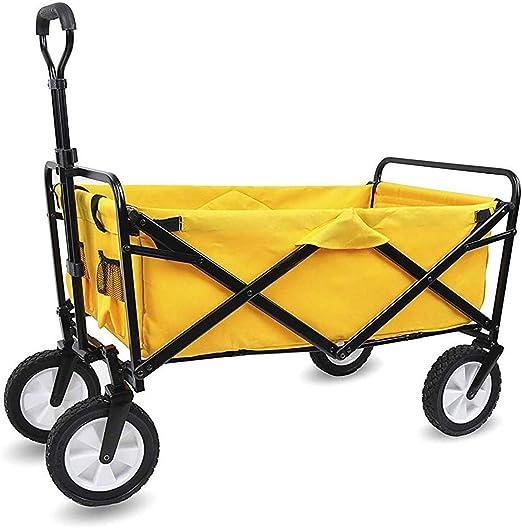 FZXL Carro de jardín de Servicio Pesado, vagón Plegable Plegable para Exteriores para Compras en la Playa al Aire Libre Jardinería de Bricolaje, Carga máxima de 100 kg,Amarillo: Amazon.es: Hogar