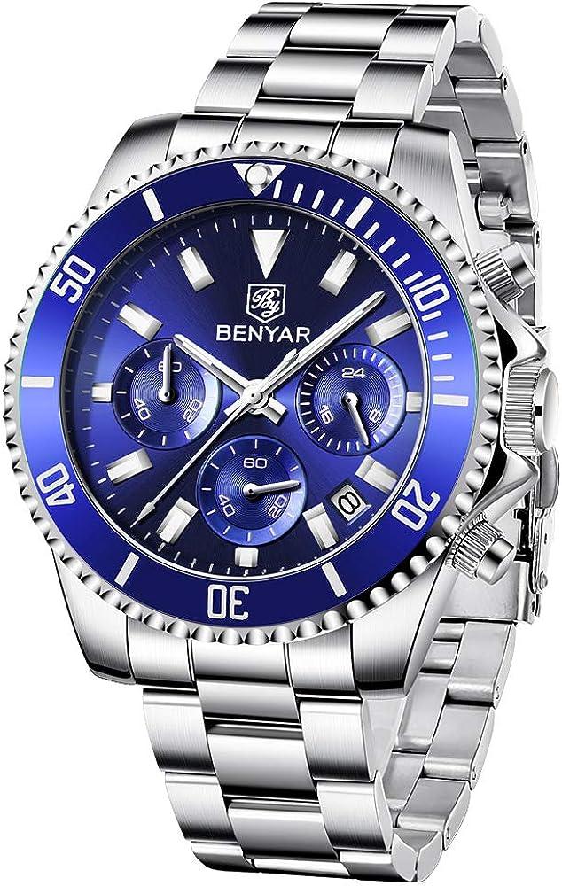 Reloj de Acero Inoxidable para Hombre Von BENYAR | Reloj de Cuarzo de Moda Movimiento empresarial | 30M Resistente al Agua y a los arañazos Cada ocasión