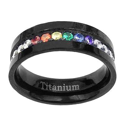 6mm Black Titanium Gay Lesbian Engagement Ring Wedding Band Rainbow CZ Eternity Size 5 SPJ