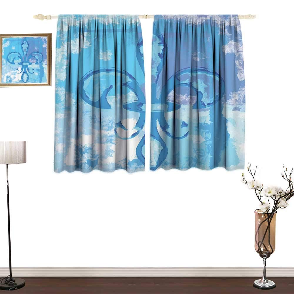 Jinguizi Fleur De Lis DecorPrinted curtainIllustration of Lily Flower Like Frozen Heredic Nobility Emblem Queenly Style PrintPrinting Insulation W55 xL39 Blue