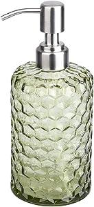UUJOLY 16.9 Oz Glass Soap Dispenser for Bathroom Kitchen Refillable Pump Bottles, Hand Soap Dispenser, Refill Detergent, Essential Oil, Shampoo (Green)