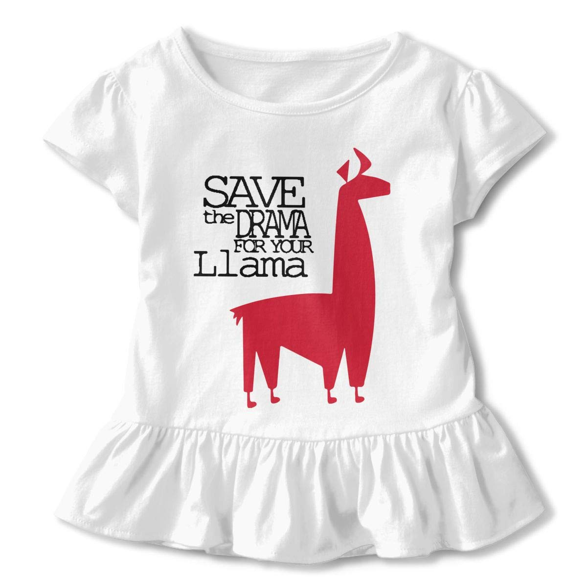 HYBDX9T Little Girls Save The Drama for Your Llama Funny Short Sleeve Cotton T Shirts Basic Tops Tee Clothes