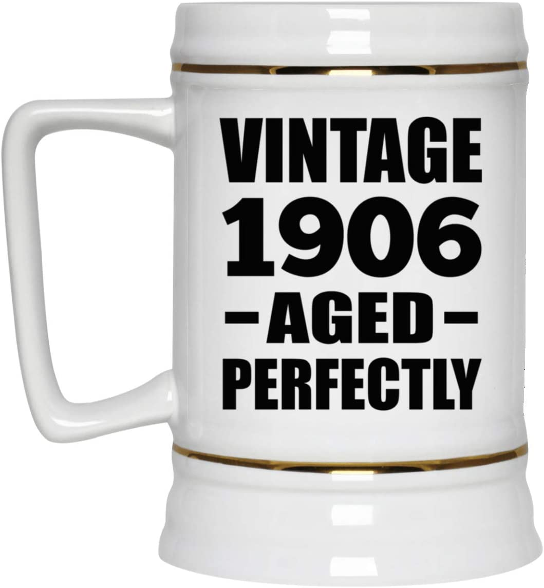 114th Birthday Vintage 1906 Aged Perfectly - 22oz Beer Stein Ceramic Bar Mug Tankard High Quality - Gift for Friend Kid Daughter Son Grand-Dad Mom Jarra de Cerveza, de Cerámica - Regalo para Cumple