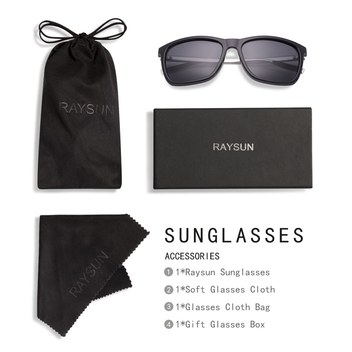 RAYSUN Unisex Black Square Polarized Sunglasses Polarized for Men Women