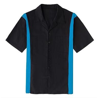 LMKIJN Moda Camisa con botones del reloj de color para hombre Blusa con solapa de manga corta con bolsillo doble Camisa de hombre: Amazon.es: Ropa y ...