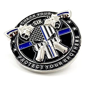 AIIZ Collectibles Police Pin - Punisher Thin Blue Line Thin Blue Line Blue Lives Matter Law Enforcement Officers Military Police NYPD Lapel Pin (1)