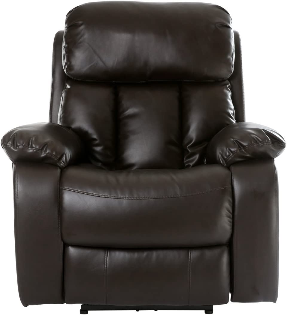More4Homes CHESTER ELECTRIC HEATED MASSAGE RECLINER BONDED LEATHER CHAIR SOFA GAMING HOME ARMCHAIR Brown tm