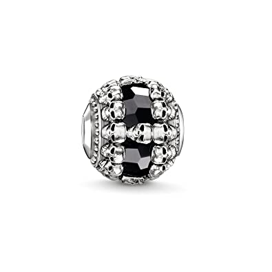 Thomas Sabo Women Men-Bead Black skulls Karma Beads 925 Sterling Silver blackened Onyx K0241-698-11 d8TsQN8IC