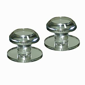 Mirart 1¼ Pull Handle, Self Stick Round Acrylic Mirror Beveled Knob (2 Pack)