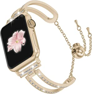 Wearlizer Womens Scrub Gold Compatible with Apple Watch Band 42mm 44mm iWatch SE Bling Jewelry U-Type Wristband Steel with Rhinestone Bangle Replacement Strap Metal Bracelet Chain Series 6 5 4 3 2 1