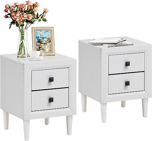 Giantex Nightstand Wooden W/Two Storage Drawers and Handles,Waterproof Material