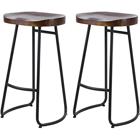 Furniture 2pcs Industrial-style Gavin Bar Stools Solid Wood Top Dining Chair Industrial Style Bar Furniture Us Fr De Es Stock