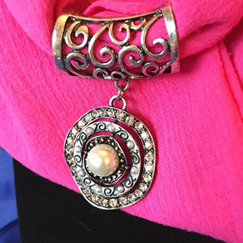 Wavy Pearl on Bright Pink Infinity Pendant Scarf (Circle Scroll Pendant)