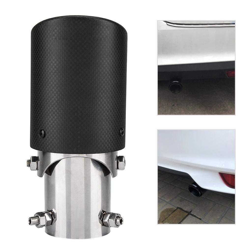 Car Exhaust Pipe Carbon Fiber Style Car Adjustable Single Outlet Exhaust Pipe Muffler Tip Tail Throat 63-89mm