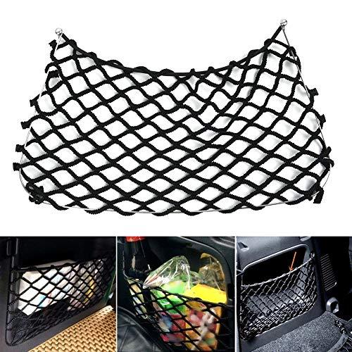 RoJuicy for Benz Smart Fortwo 451 2009-2014, Trunk Organizer Rear Trunk Back Seat Cargo Mesh Net Bag, Car Storage Side Net Pocket