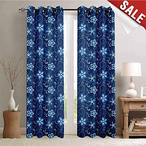 (Flyerer Romantic, Decorative Curtains for Living Room, Polka Dotted Background with Floral Composition Curves and Swirls Abstract, Waterproof Window Curtain, W84 x L96 Inch Dark Blue White)