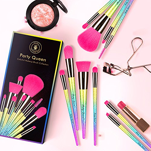 Party Queen Makeup Brushes 10 Pieces Make Up Set Foundation Powder Eyebrow Concealer Eyeshadow Cosmetic Brush Tool