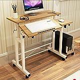 GFL Home Removable/Elevating/Tabletop Adjustable Laptop Table/Simple Dining Tables Desk Mobile Workstation Computer Tables (Color : Oak)