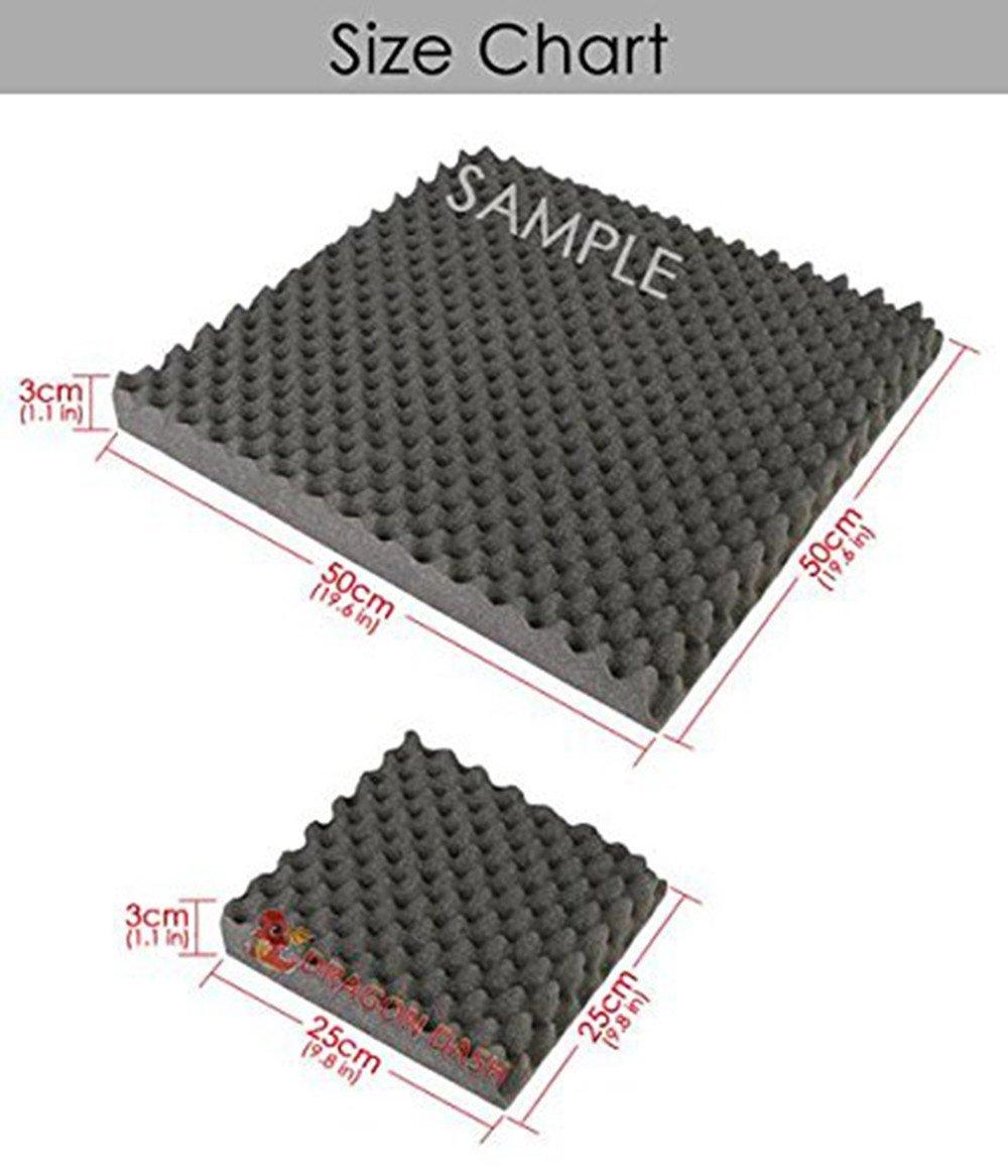 Super Dash (24 Unidades) de 25 X 25 X 3 cm Negro Insonorización Eggcrate Espuma Absorción Aislamiento Acústica Paneles Tratamiento Conjunto SD1040 (NEGRO): ...