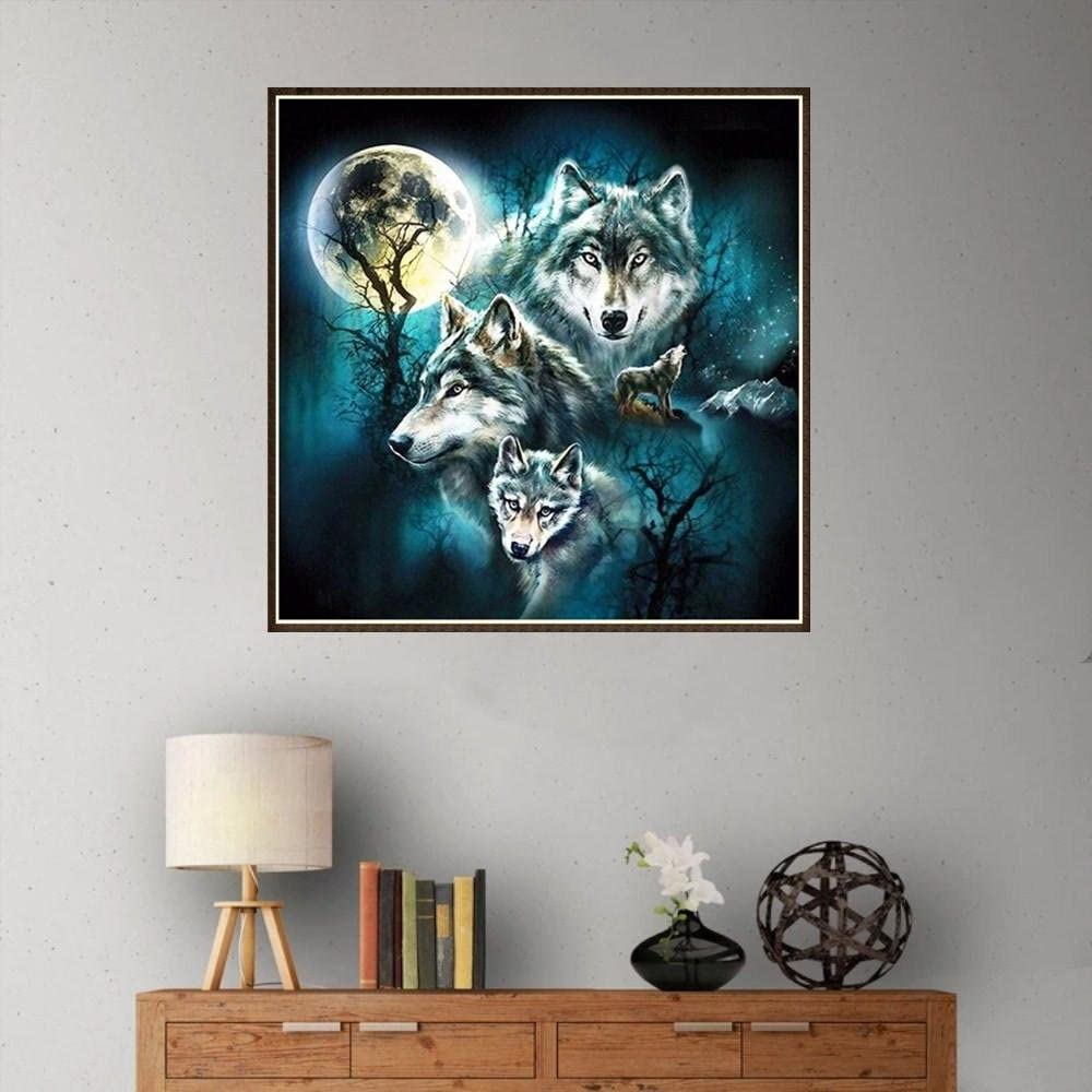 Yeefant Wolves Embroidery Paintings No Fading 5D Canvas Rhinestone Pasted DIY Diamond Cross Stitch Home Wall Decor for Bedroom Living Room,12x12 Inch