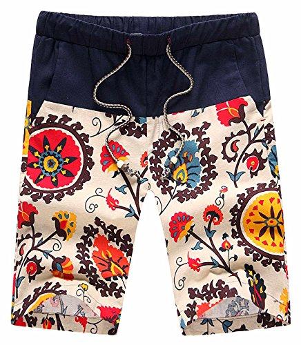 Men Aloha Shorts Hawaiian Style Bright Breathable Seamless Block UV Rays Beach Board Shorts 38 Colored ()