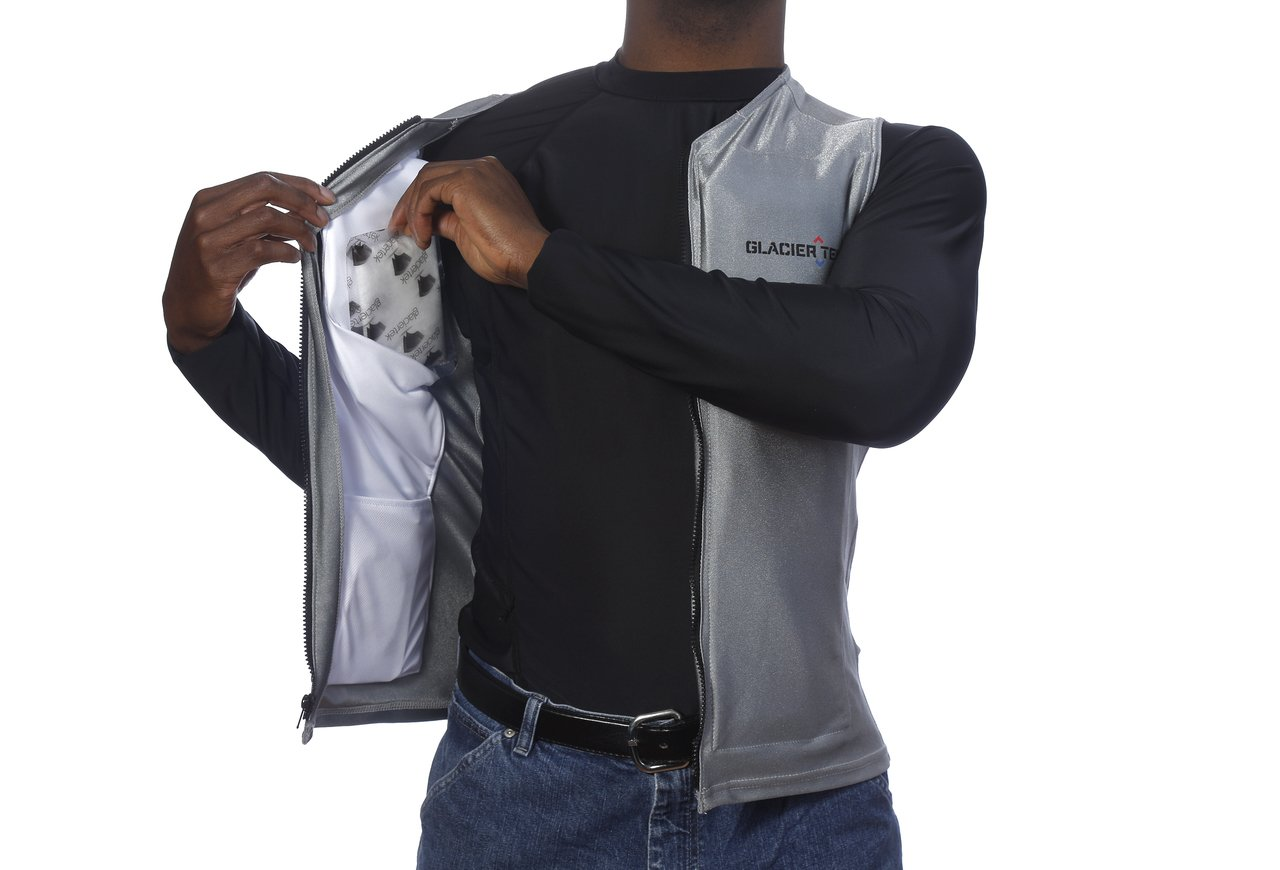 Flex Vest Cool Vest with Nontoxic Cooling Packs Gray Medium (Chest Size 36-42) by Glacier Tek (Image #3)