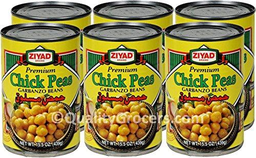 Ziyad Chick Peas Garbanzo Beans 15.5 ounce (6 cans) (Peas Chick Ziyad)