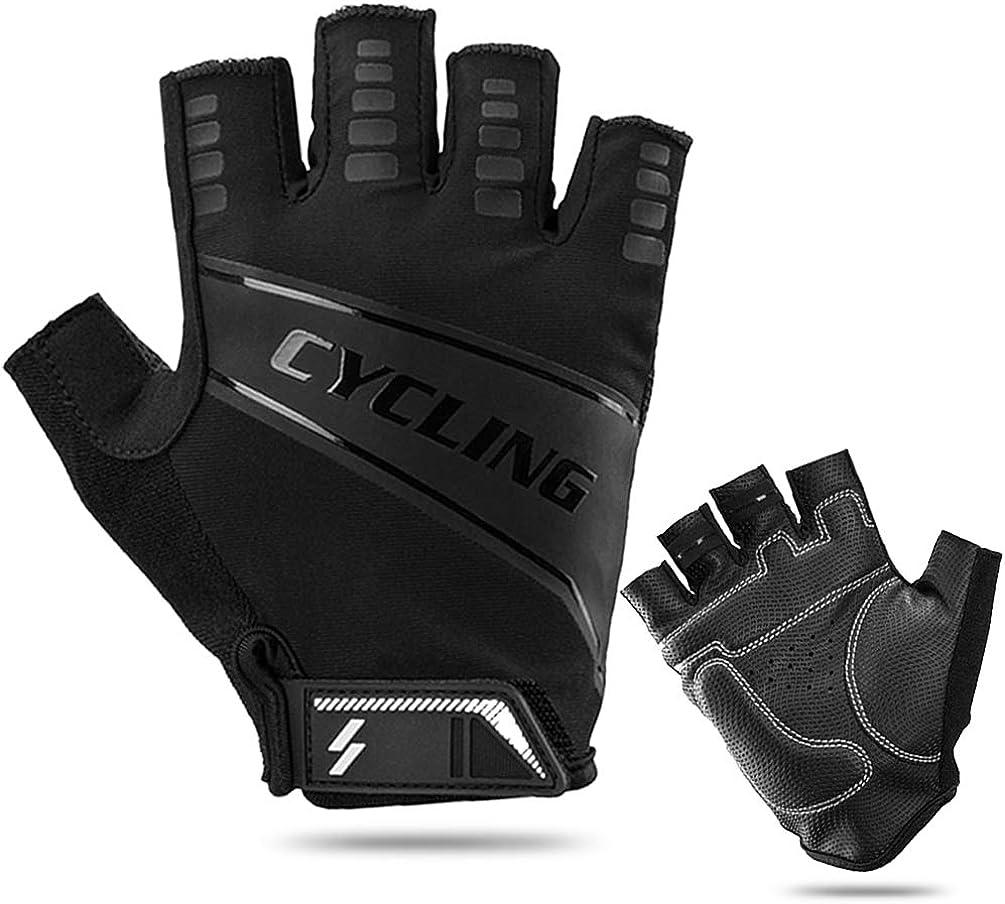 JINGTOO Cycling Gloves Men Women Half Finger Bike Gloves Mountain Padded Workout Gloves Sports Exercise Light Thin Bicycle Gloves Anti Slip Shock Proof Biking Gloves Black Padding Breathable Mesh