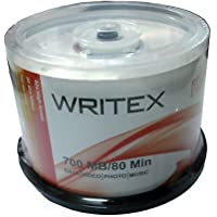 WRITEX 50pcs CD-R-CD RECORDABLE Spindle Box 52 X 700 MB 80 Minutes (50)