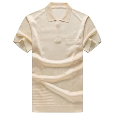 30aa1a3efa87 Image Unavailable. Image not available for. Color  Carolyn Jones New Summer  Men S Casual Fashion Silk Short Sleeved Polo Shirts ...
