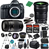 Canon EOS 5D Mark IV Camera + 24-105mm STM + Tamron 70-300mm AF + 2pcs 16GB Memory + Case + Reader + Tripod + ZeeTech Starter Set + W/A + Tele + Flash + Battery + Charger