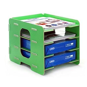 Oficina carpeta Organizador Carta Bandejas carpeta Rack apilables clasificador horizontal de madera Cabinet Box A4 talla