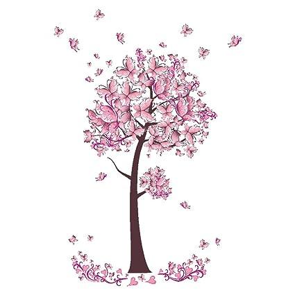 Amazon Com Woopower Pink Butterfly Tree Flowers Wall