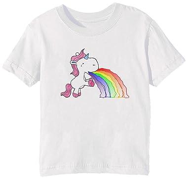Erido Vómito Arco Iris Unicornio Niños Unisexo Niño Niña Camiseta Cuello Redondo Blanco Manga Corta Todos Los Tamaños Kids Unisex Boys Girls T-Shirt White ...