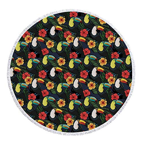 iPrint Thick Round Beach Towel Blanket,Watercolor,Toucan Birds and Hibiscus Flowers Tropical Exotic Hawaii Flora and Fauna Cartoon Decorative,Multicolor,Multi-Purpose Beach Throw by iPrint