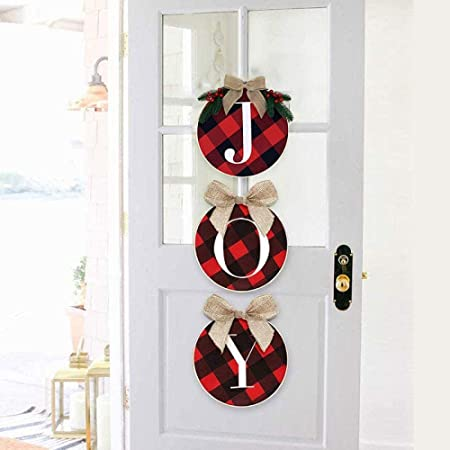 Christmas Decorations Letter Joy Garland Doors and Shutter Staircase Fireplace Scene Layout DIY Red and Black Grid Christmas Wreath Home Decoration