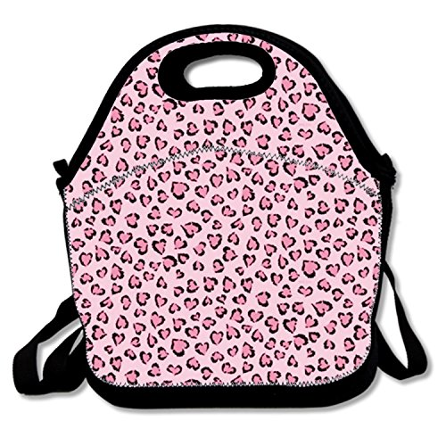 (Pink Leopard Grain Print Insulated Lunch Tote Bag Lunchbox for School Work)