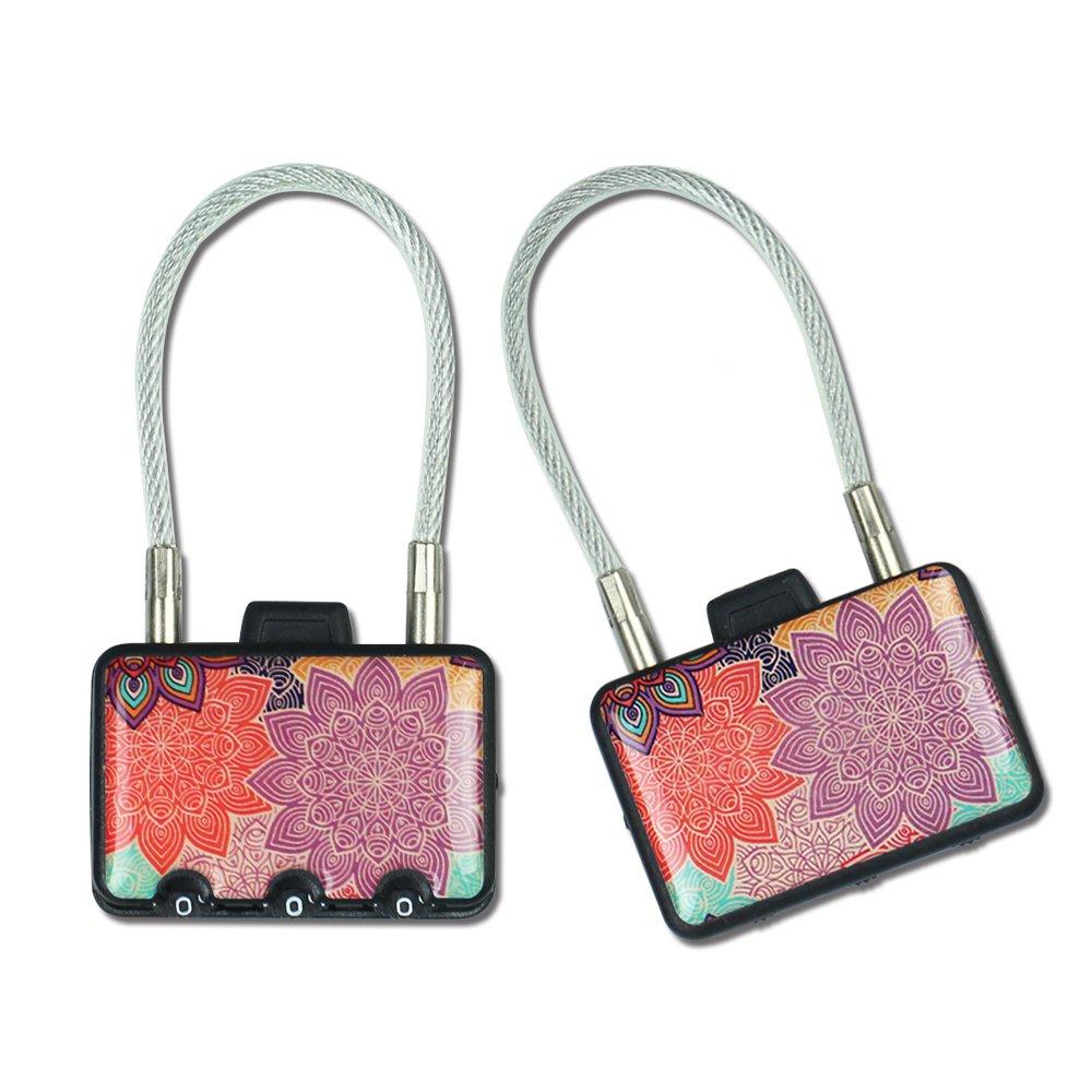 Luggage Locks,Cheliz Cable Locks(2 Pack), TSA Approved Travel Locks,Flexible Locks,Keyed Lock,3Digit Combination Security Padlock Locks for Gym,School, Locker, Outdoor,Suitcase & Bag (Colorful Petals)