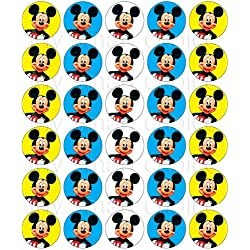 30 x Edible Cupcake Toppers – Mickey Mouse Themed Collection of Edible Cake Decorations | Uncut Edible Prints on Wafer Sheet